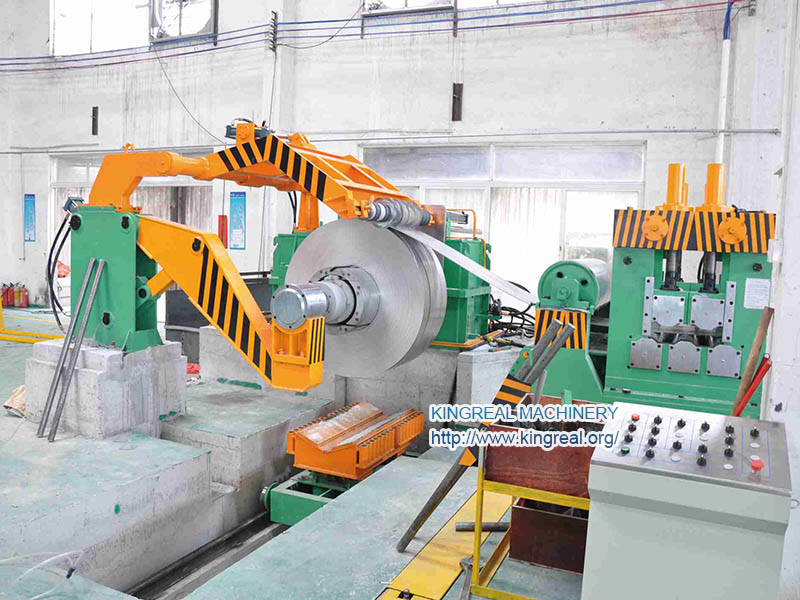 Thick sheet material coil slitting line, coil processing machine